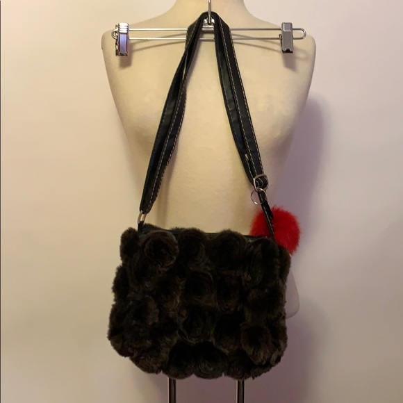 None Handbags - Brown Fur Floral Purse with Red Fob